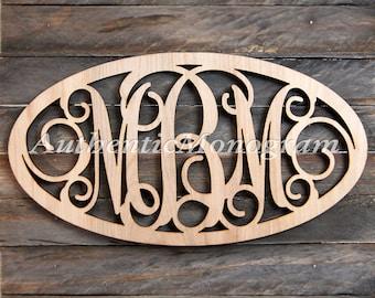 Wooden Monogram Initials Oval Framed - Unpainted Vine Script Monogram, Home Decor, Wedding Decor, Initial Monogram, Dorm Decor