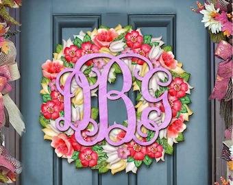 Sprig Decor Wooden Monogram Flower Bouquet Door Hanger - Wall Art - Unique gift for Bridal Shower, Newlyweds  #93159