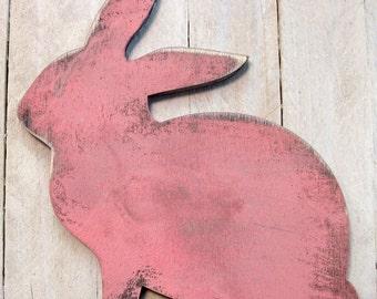 Easter Bunny - VINTAGE PINK RABBIT Shape - Vintage Rustic Decor - Wall decor - Door Hanger - Painted L981341