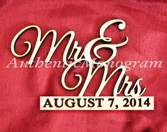"""24"""" Wooden """"Mr and Mrs"""" & CUSTOM DATE to REMEMBER Monogram Unpainted, Home Decor, Wedding Decor, Initial, Nursery, Celebration 1123*"""