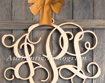 """SALE 24"""" Wooden Monogram UNPAINTED Vine Script Monogram Home Decor, Wedding Decor,Initial Monogram, Door Hanger, Nursery (110132"""