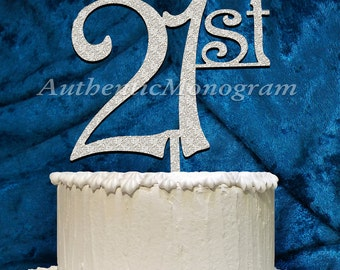 21st Birthday or Anniversary Cake Topper, 6inch, Celebration, Cake Decoration, Special Occasion, Love Gift 4213