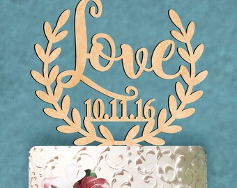 Wedding Cake Topper - Natural wood LOVE and Custom Date Cake Topper. Wedding, Initial, Celebration, Summer Wedding