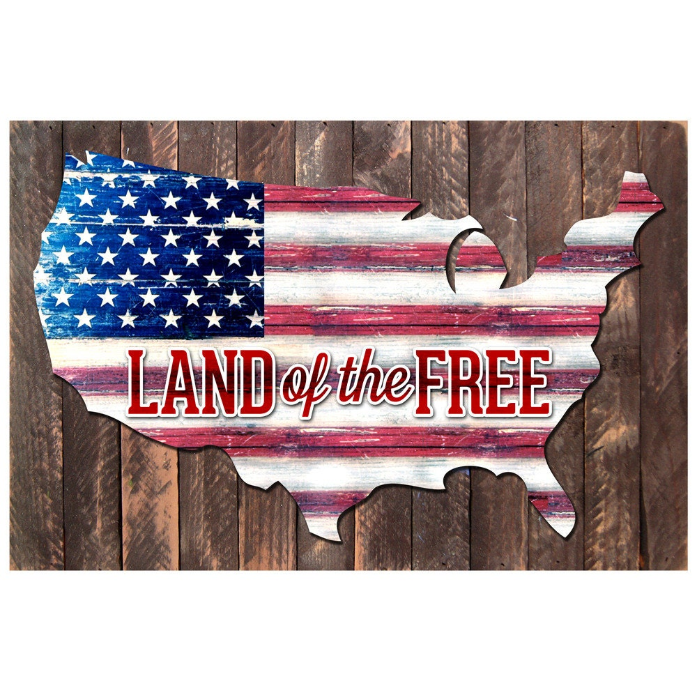Veterans Day Gift Vintage Us Map Land Of The Free Quote Rustic