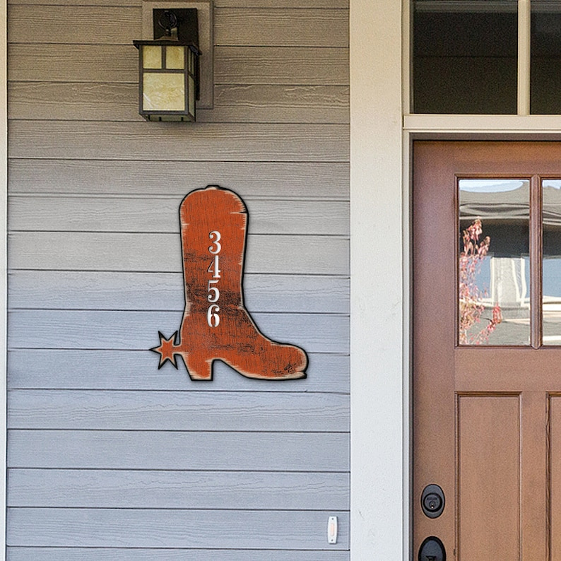 House number Cowboy Boots House Number Plaque Custom Home Address Sign MA989142 Address Number House Numbers House Number Sign