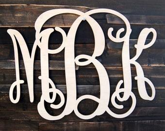 Wooden Monogram - Unfinished Vine Script Monogram - Wood Monogram - Monogram Wall Hanging - Monogram Home Decor