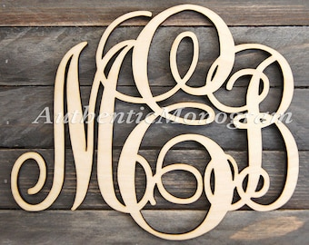 Wooden Monogram Wall Letters Unpainted - Home Decor Monogram - Wedding