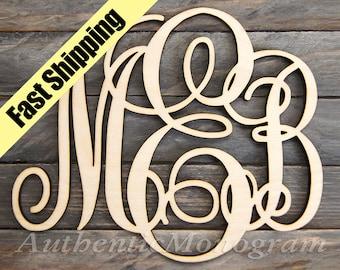 Personalized Gift WOODEN MONOGRAM Wall Letters Unpainted - Monogram Wall Hanging -  Wedding Decor - Door Hanger - Nursery - Dorm Decor