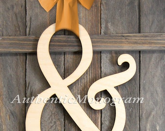 24 inch AMPERSAND WOODEN LETTER unpainted Monogram, Home Decor, Anniversary Decor, Engagement Prop Monogram, Door Hanger, Guarden 1311&*