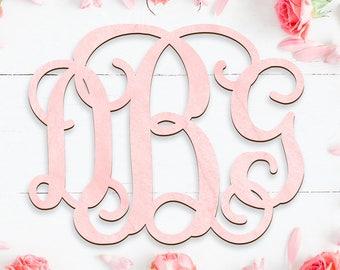 Wooden Monogram - Tree Letters Vine Script Painted - Door Hanger - Wall Hanger - Wedding - Wedding Gift