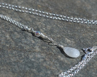 Moonstone necklace, sterling silver, crystal, minimalist, simple, stone, 18 inch rolo chain and pendant, gift for her