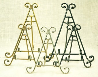 Easels: Display Stands- Photo or Plate Display Stands- Tile and Photo Holder - Wood and Metal Easels