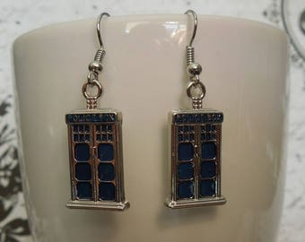 Dr. Who Tardis Earrings - Police Box - Sterling Silver - Hypo Allergenic