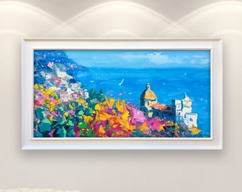 Positano Painting on Canvas, Original Painting, Amalfi Coast, Seascape Painting, Impressionist Italy Art, Living Room Wall Decor, Gift