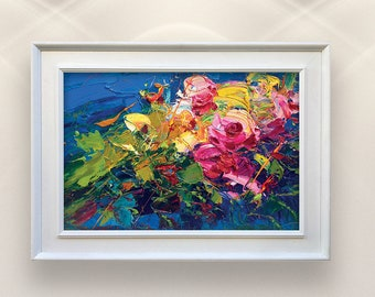 Abstract Flowers Painting on Canvas, Original Art, Pink Roses Painting, Floral Painting, Modern Painting, Room Wall Decor, Gift for Women