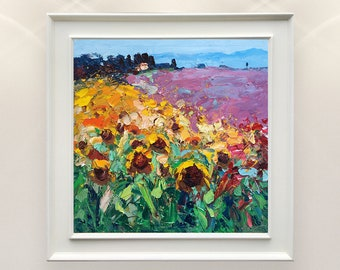 Sunflowers and Lavender Field Wall Art Landscape Painting Oil on Canvas Hand Painted Artwork Modern Picture for Living Room Stretched Framed