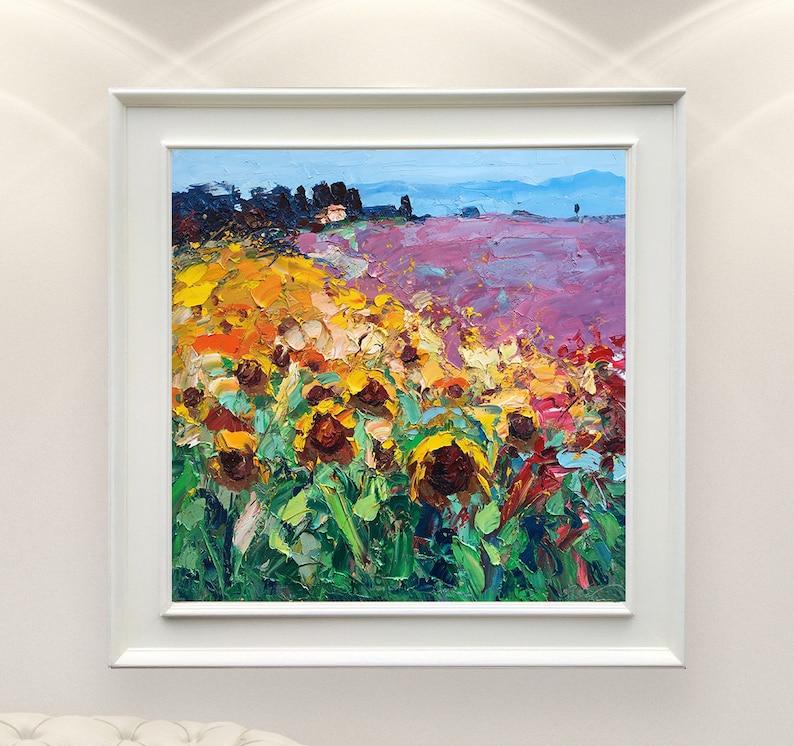 Paesaggio toscano dipinto su tela con girasoli e lavanda | Etsy