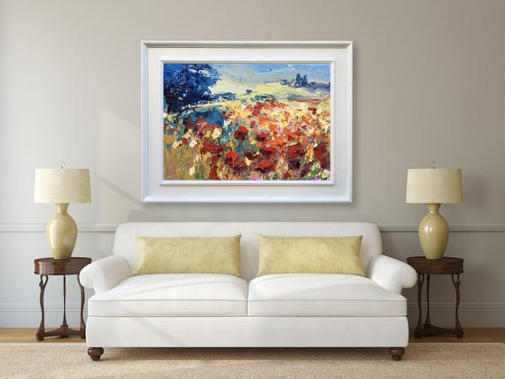Abstrakte Malerei Auf Leinwand Mohnblumen Malerei Original Modern Art  Toskana Malerei Fine Art Malerei Land Zu Hause Wand Dekor Geschenk Für  Männer