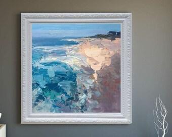 Beach Painting Oil Painting Canvas Ocean Painting Beach Art Seascape Painting Waves Painting Impressionist Sea Painting Coastal Painting