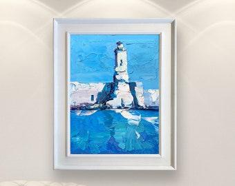 White Lighthouse Painting on Canvas Nautical Wall Art Seascape Painting Modern Wall Decor Beach House Art Framed Original Gift for Men