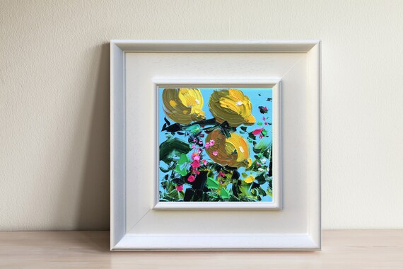 Original Abstract Art Abstract Lemon Painting Kitchen Art Modern Wall Art Painting in Yellow and Green 9\u201dx12\u201d Watercolor Lemon Art