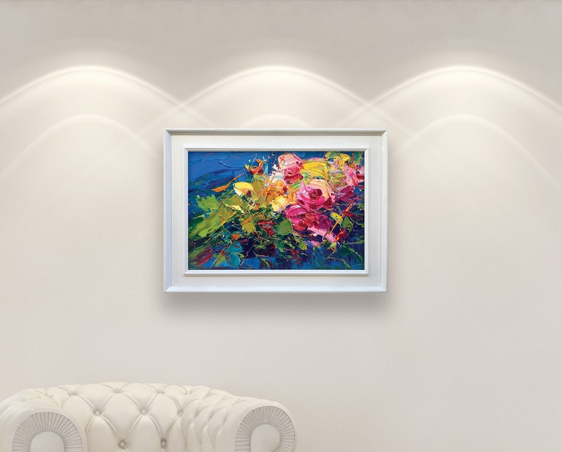 Abstract Flowers Painting on Canvas Original Art Pink Roses image 0