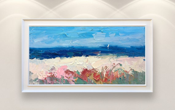 Spiaggia Dipinto Su Tela 40 Arte Moderna Oceano Astratto Arte Seascape Wall Art Wall Decor Da Salotto Incorniciato Regali Unici Opera Darte