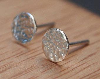 Silver Stud Earrings,Silver Earrings, stud earrings, earrings, hammered silver, silver studs, 7mm, handmade earrings, silver jewellery, UK