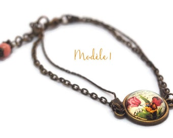 Bracelet cabochon and double chain - spring flowers