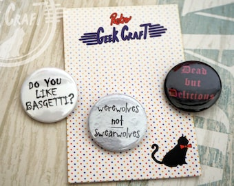What We Do in the Shadows 25mm Badges Werewolves swearwolves vampires
