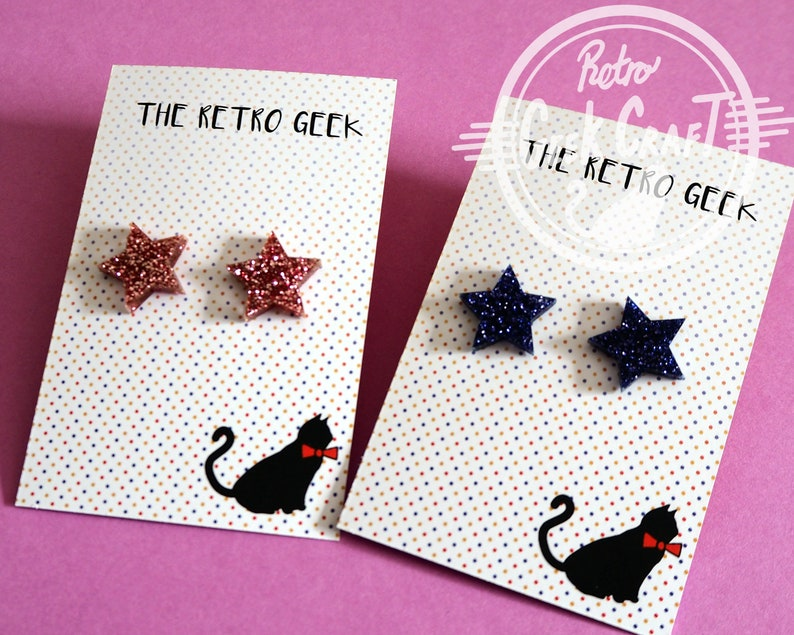 Acrylic Star stud earrings. Rainbow Shimmer Glitter colours image 0