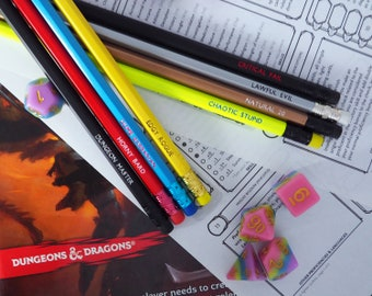 Dungeons & Dragons Pencil Set - Alignments, Tropes and Quotes !