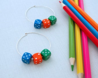 Large Hoop Earring with Dice / D6's