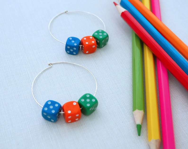 Large Hoop Earring with Dice / D6's image 0