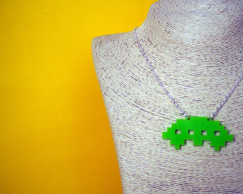 8-bit Space Alien Acrylic Necklace Alien Invaders Flying image 0