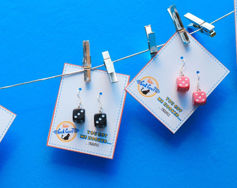 Colourful six sided dice d6 drop earrings image 0