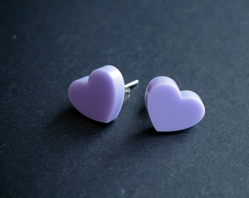 Laser cut acrylic heart stud earrings 9 colours to choose image 0