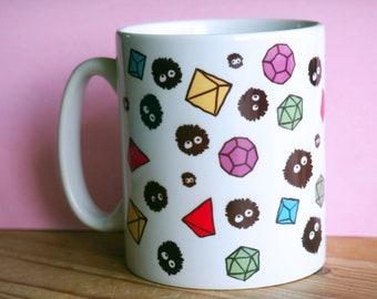 Polyhedral Dice and Soot Sprite Ditsy Mug
