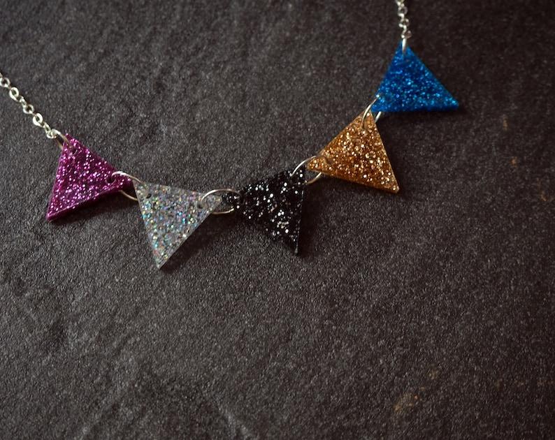 Glitter Acrylic Bunting Necklace 1970's disco studio 54 image 0