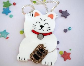 Maneki Neko / Lucky Cat Necklace - Different Colours!
