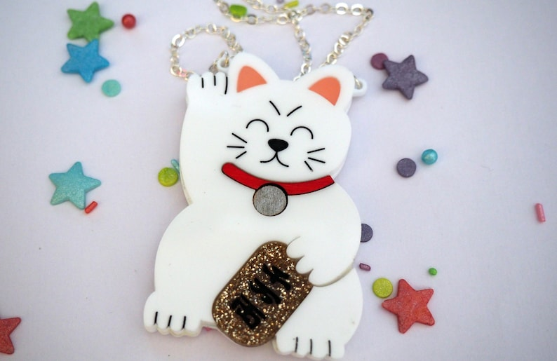 Maneki Neko / Lucky Cat Necklace  Different Colours image 0