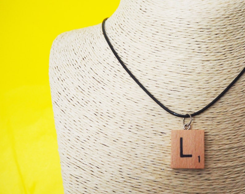 Initial Necklace Wooden Scrabble Tile Pendant Personalised ANY image 0