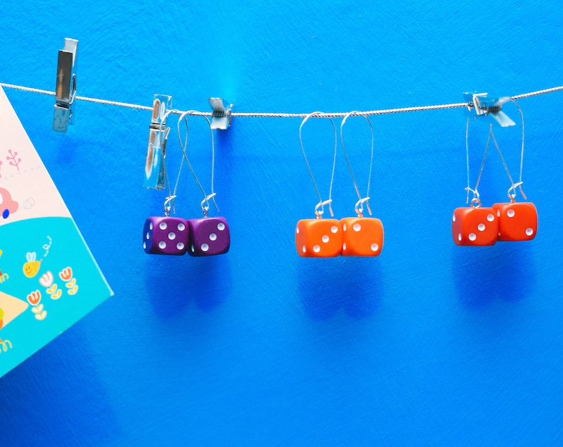 Colourful large six sided dice d6 kidney hook long drop image 0