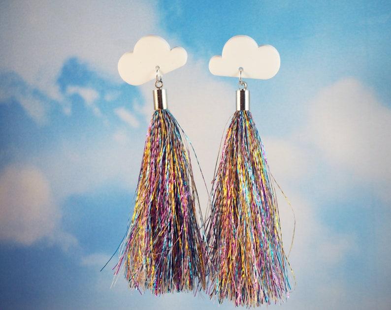 Shimmery Statement Cloud Earrings image 0