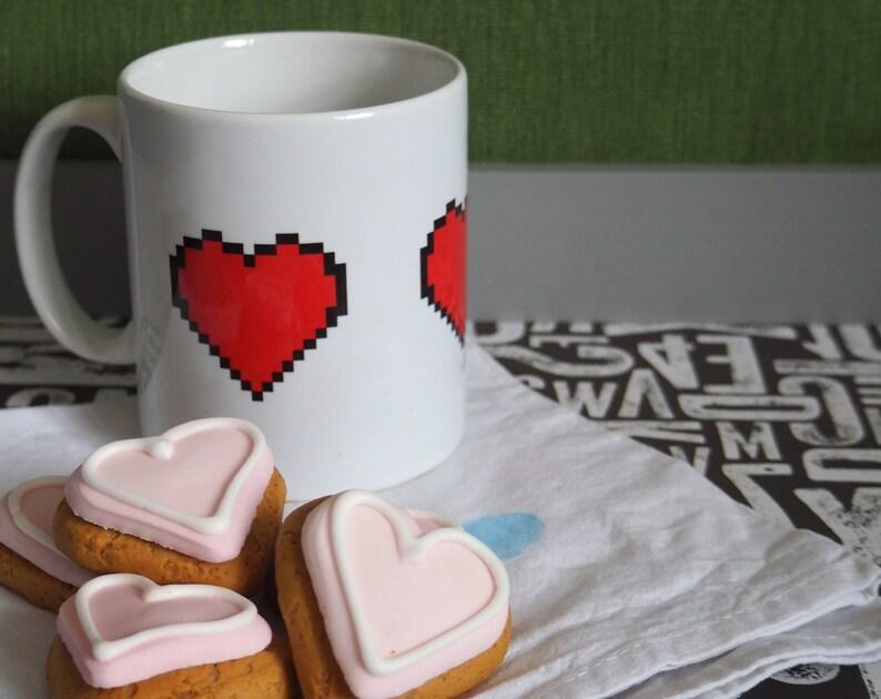 Pixel Heart Mug Gaming 8-bit Zelda heart counter image 0