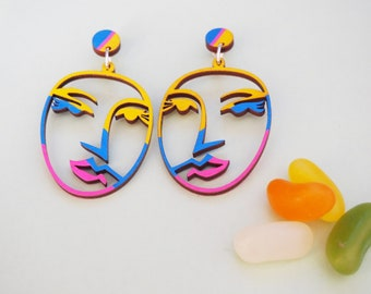 Abstract Picasso Face Earrings - Painted
