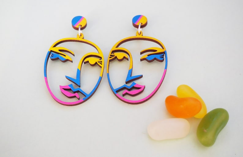 Abstract Picasso Face Earrings  Painted image 0