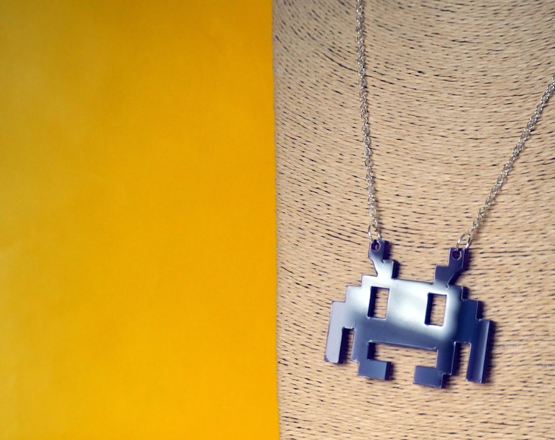 8-Bit Invader Necklace  Acrylic image 0