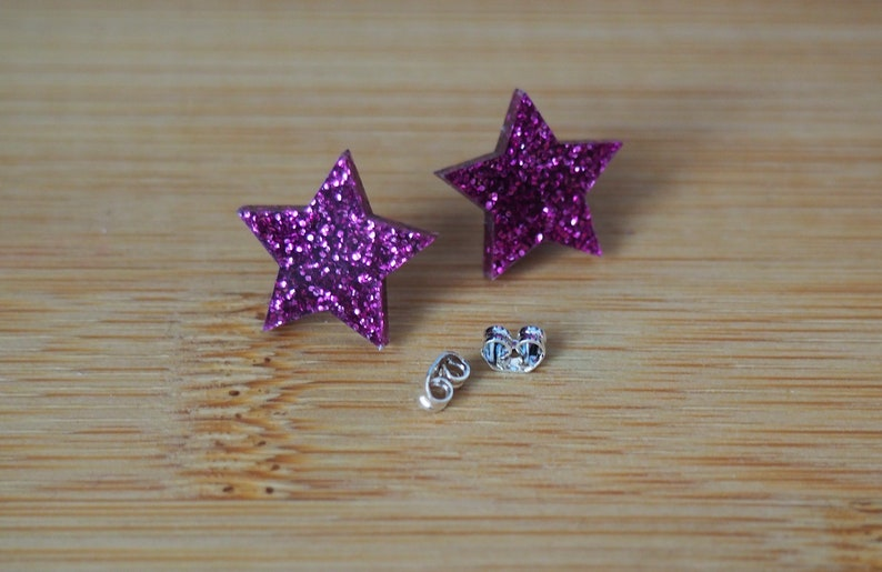 Star Earrings  Many Colours  Studs  Acrylic image 0