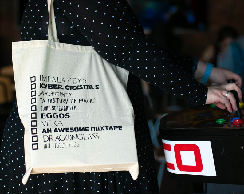Geek Packing List Tote Bag Nerd Scifi Fantasy Fandom image 0